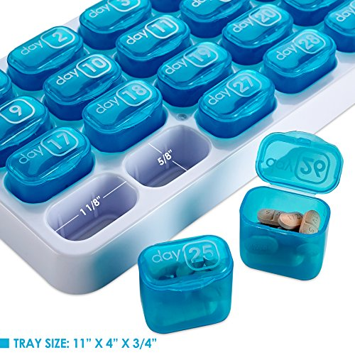 Monthly Pill Organizer - 31 Day Pill Organizer with Large Removable Medication Pods, Portable Pill Case Box and Holder for Daily Medicine and Vitamins, Great for Travel by MEDca by MEDca (Image #3)