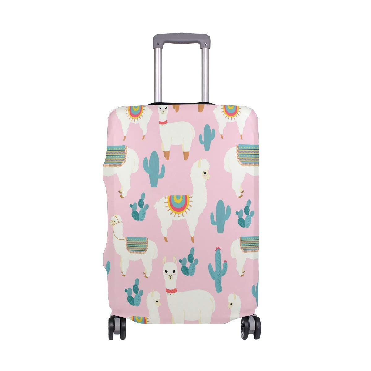 VIKKO Cute Llama Alpaca With Cactus Travel Luggage Cover Suitcase Cover Protector Travel Case Bag Protector Elastic Luggage Case Cover Fits 29-32 Inch Luggage for Kids Men Women Travel