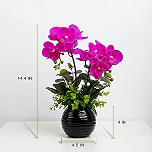 YILIYAJIA Artificial Orchid Bonsai with Ceramics Vase, Fake PU Real Touch Flowers Phalaenopsis Bonsai for Table Office Home Party Decoration 2
