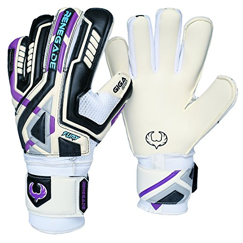 R- GK Fury UV Adult & Youth Goalie Gloves Hybrid Cut (Size 10) with Pro Finger Saves - Improve Ball Blocking - Soccer Goal Keeper Equipment - Mens, Womens, Junior, Kid - Not Gloves