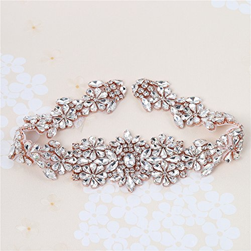XINFANGXIU Rose Gold Rhinestone Bridal Wedding Dress Sash Belt Applique with Crystals Handcrafted Sparkle Elegant Thin Sewn or Hot Fix for Women Gown Prom Formal ()