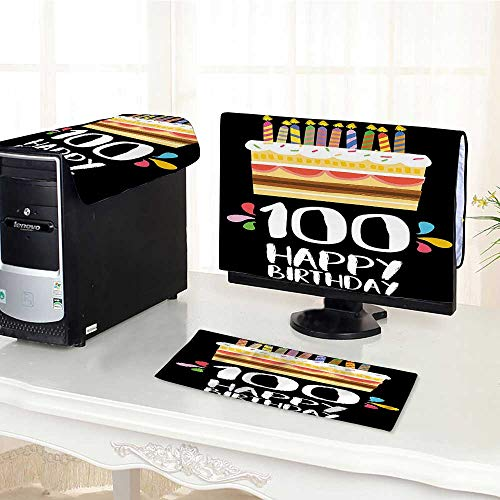 Auraisehome Computer Keyboard Dust Cover 3 Pieces Decorations Old Legacy 100 Birthday Party Cake Candles on Black Backdrop Multicolor dust Cover Computer case /30