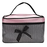 Women Portable Travel Makeup Handbag Hosamtel Bowknot Stripe Cosmetic Holder Jewelry Watch Storage Bag Beauty Artist Case Makeup Display Box Bag for Bathroom, Dresser, Vanity and Countertop (Black)