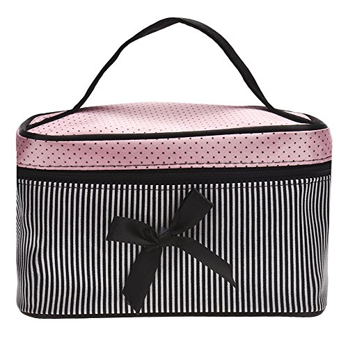 (Square Bow Stripe Cosmetic Bag Hot AfterSo (Black))