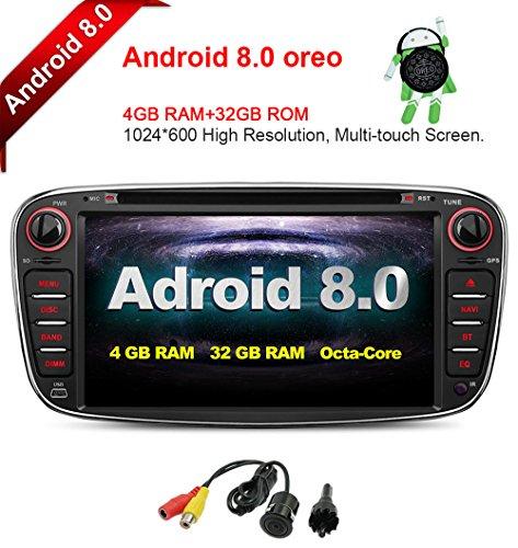 MCWAUTO Ajuste para Ford Focus Mondeo Android 8.0 7 pulgadas visualización táctil capacitiva coche radio estéreo DVD...