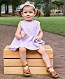 RuffleButts Baby/Toddler Girls Lilac Seersucker