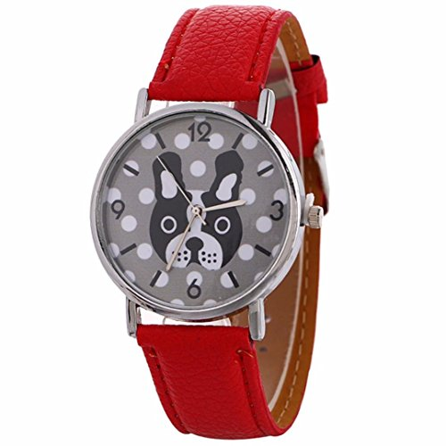 (Clearance!GREFER New Women Fine Leather Band Winding Analog Quartz Movement Wrist Watch (Red))
