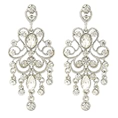JoinMe Women's Vintaged Style Bridal Crystal Drop Chandelier Filigree Dangle Pierced Earrings