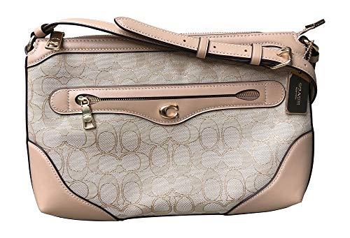 - Coach Signature Jacquard and Leather Ivie Messenger Crossbody Handbag, Light Khaki, Beechwood