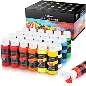 Acrylic Paint Set, Caliart 24 Vivid Colors (59ml, 2oz) Art Craft Paint Supplies for Canvas Wood Ceramic Rock Painting…