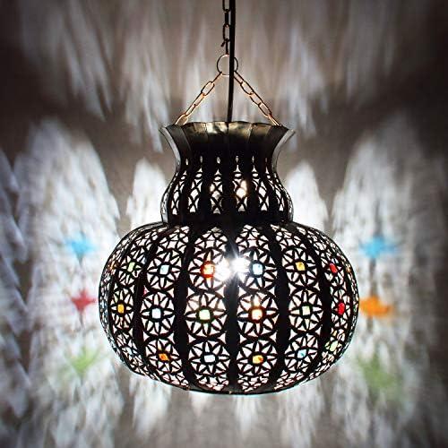 Orientalische Lampe Pendelleuchte Silber Beyla 28cm E27 Lampenfassung   Marokkanische Design Hängeleuchte Leuchte aus Marokko   Orient Lampen für Wohnzimmer, Küche oder Hängend über den Esstisch
