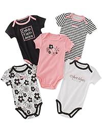 Baby Girls' Assorted Short Sleeve Bodysuit (Pack of 5)
