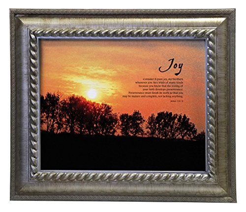 - VERSERIES - Joy Picture Frame - Christian Gift and Art - Canvas Photo Frame - Bible Verse Gift - Choose Your Design (Rustic Silver Frame, Set of 1)