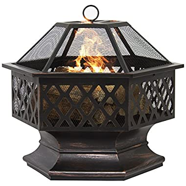 Best Choice Products BCP Hex Shaped Outdoor Home Garden Backyard Fireplace