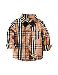 AIKSSOO Little Boys Long Sleeve Formal Outfit Bowtie Gentleman Plaid Shirt