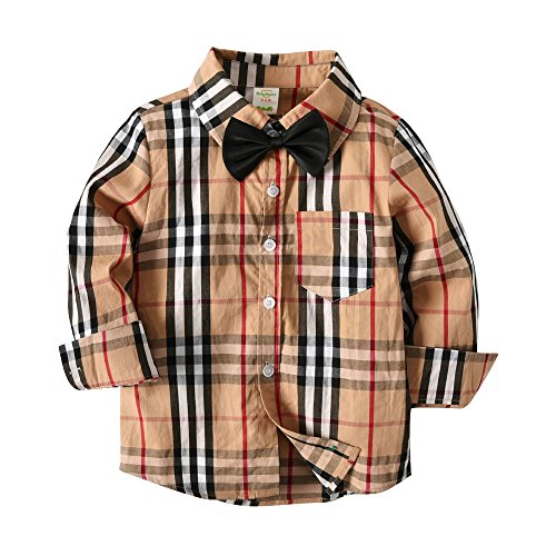 Boys Khaki Button Down Plaid Checked Long Sleeve Shirt Printed Stripe Casual Dress Shirt 7-8Y