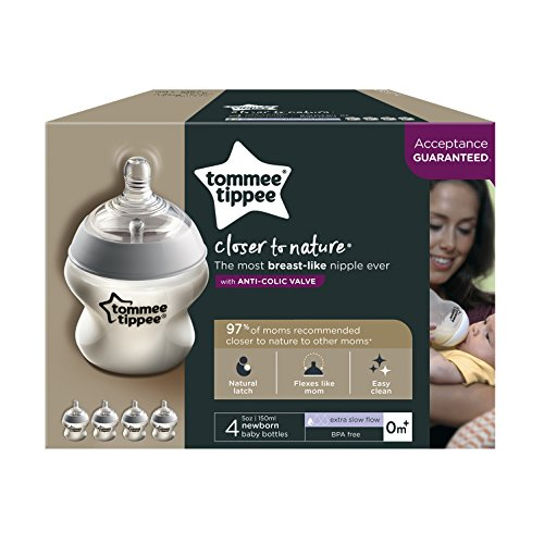 Tommee Tippee Closer to Nature Baby Bottle, Anti-Colic, Breast-like Nipple, BPA-Free - Extra Slow Flow, 5 Ounce (4 Count), Translucent (522568)