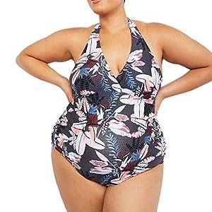 waitFOR Halter Swimwear for Pregnant Women, Maternity Leaf Print Bikini Swimsuit Pregnancy Ladies Floral Printing V Neck Swimming Costume Summer Beachwear