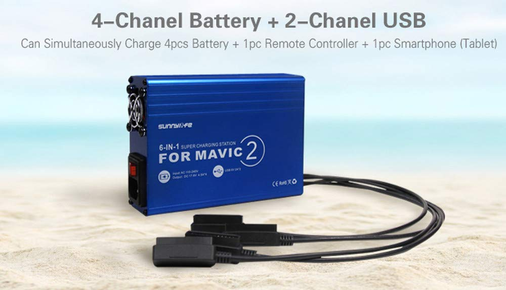 Power Cable,Recharge Battery Butler For DJI MAVIC 2 PRO/ZOOM 6-IN-1 Battery Charger with USB Super Charging Station Charger (D)