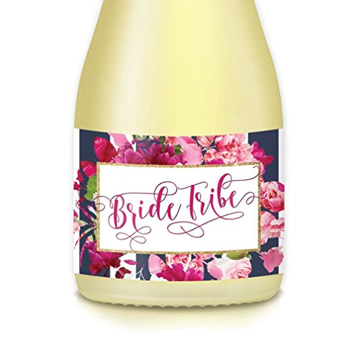 WEDDING BRIDE TRIBE Mini Champagne Bottle Labels, Bride Proposal Bridesmaid, Maid Matron of Honor, Bachelorette Engagement Party Bridal Shower, 20 Decals Great for Gift Bags Boxes Favors 3.5
