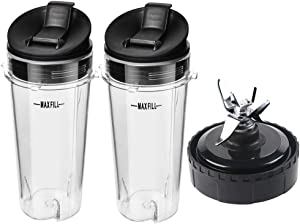 16 Ounce Single Serve Cups and 6 Fins Blender Blade Replacement Parts for Ninja BL660 BL770