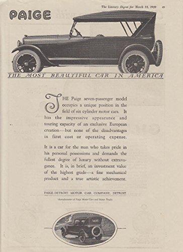 The Paige seven-passenger model touring car ad 1920 - Model Paige