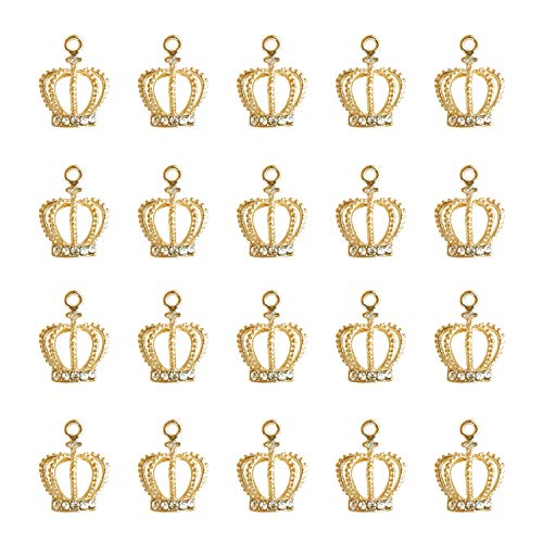 20 PCS Crystal Crown Charms Pendants for Jewelry Making,Vintage Gold Alloy Assorted Charms Pendants Jewelry Findings for Necklace Earring Bracelet Hair Accessories Jewelry DIY Making Crafting Crystal Crown Charm Necklace