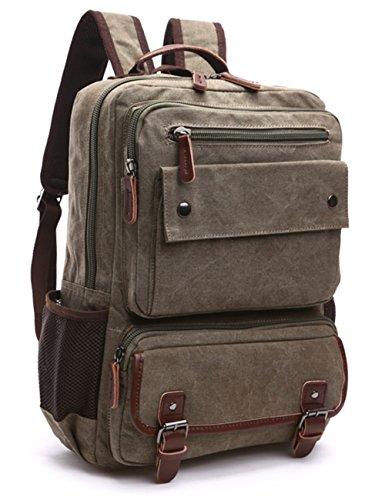 Vintage Canvas Laptop Backpack School College Rucksack Bag (Army green) - 6