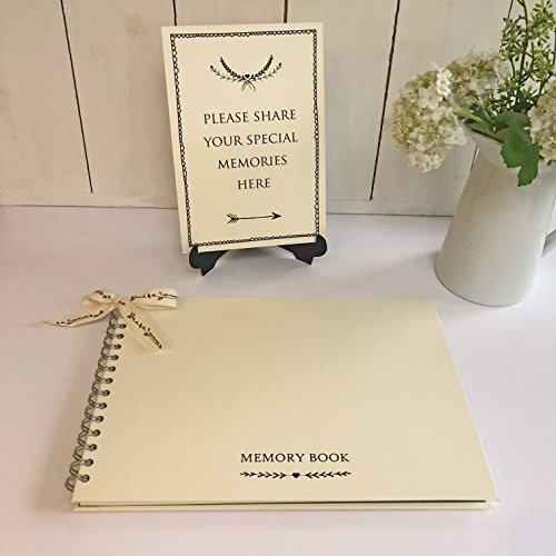 ANGEL & DOVE Large Luxury 12'' x 8'' Memory Book & 'Share Your Memories' Sign Set for Funeral, Remembrance, Condolence, Celebration of Life by ANGEL & DOVE
