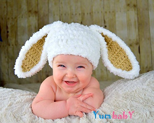 Amazon.com  Easter Clothes White Bunny Hat Kids Easter Outfit Baby Bunny  Ears Beanie  Handmade ea311746b6f