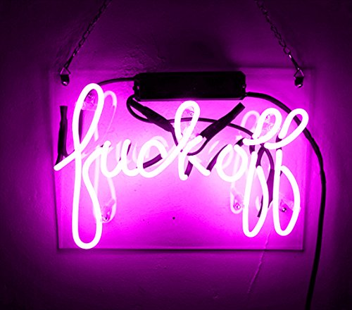 Decorative Lights Neon Wall Sign Decor Real Glass Handmade Custom Purple Lamp Night Light for Home Bedroom Living Room Garage Hallway Stairways Office Beer Bar - Fuck Off