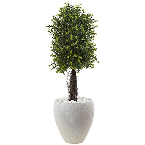 Nearly Natural 5963 40'' UV Resistant (Indoor/Outdoor) Ixora Topiary with White Planter by Nearly Natural