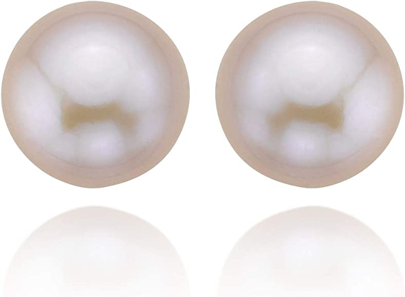14k Yellow Gold 10-11mm Pink Freshwater Cultured Pearl High Luster Pink Stud Earrings