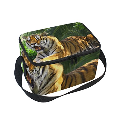 Tiger Pattern Print Insulated Lunch Box Cooler Bag Reusable Tote Outdoor Travel Picnic Bags