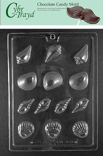 Cybrtrayd N061 Seashell Assortment Chocolate Candy Mold with Exclusive Cybrtrayd Copyrighted Chocolate Molding Instructions