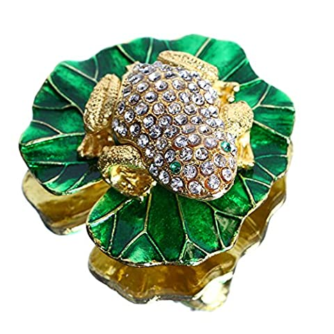 YUFENG Enamel with Crystals Animal Frog Trinket Box Hinged for Women,Bejeweled Jeweled Collectible Trinket Box (gold - Turtle Hinged Trinket Box