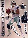 FATHEAD Dak Prescott Dallas Cowboys Logo Set Official NFL Vinyl Wall Graphics 16'' INCH