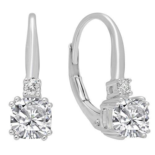 (14K White Gold 5 MM Each Cushion Cut Lab Created White Sapphire & Round Diamond Drop Earrings)