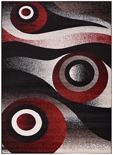 "Cheap Comfy Collection Abstract Circles Design Area Rug Modern Contemporary Rug 2 Color Options (Black, 4'11"" X 6'11"")"
