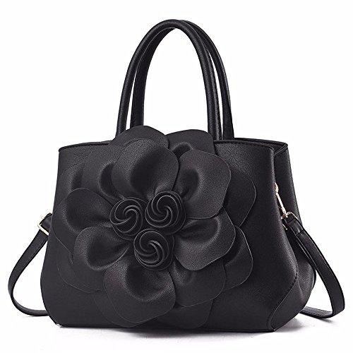 Gqfgyyl Señoras Suave Black Bolso Hombro Bolsa Tridimensional pink Cara Grande Elegante Flor De FFRxrOdw