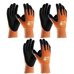 3 Pack MaxiFlex® Ultimate™ Hi-Vis Orange Work Gloves 34-8014 Sizes Small-X-Large (Medium)