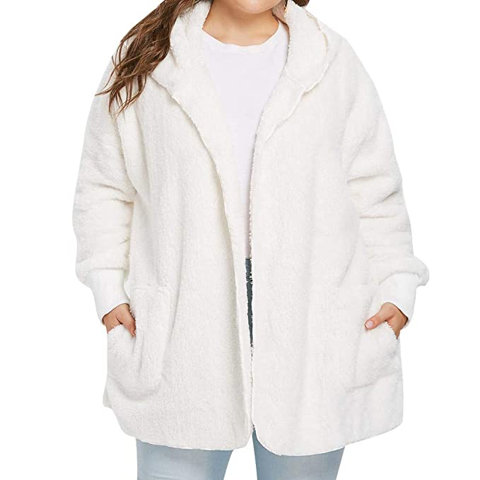 Amazon.com: Seaintheson Clearance Women Open Front Hooded Draped with Pockets Casual Solid Plus Size Fuzzy Fleece Cardigan Outwear: Clothing