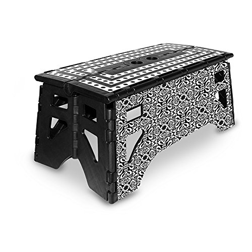 eXpace 13 Inch Wide Plastic Folding Step Stool for Adults, Supports up to 350 lbs, Non Slippery Multipurpose Platform, Black Damask BD1 by eXpace