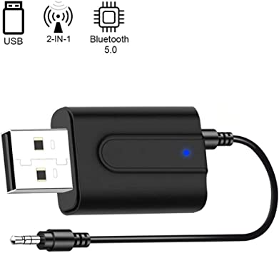 GNNMOY Adaptador Bluetooth 5.0,Transceptor de Audio Inalámbrico Bluetooth USB Transmisor Receptor 2 en 1 con Cable Auxiliar Digital de 3.5 mm para TV, Altavoces, PC, Auriculares,Coche: Amazon.es: Electrónica