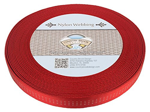 Country Brook Design 1 Inch Red Climbing Spec Tubular Nylon Webbing, 10 Yards ()