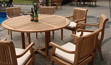 Amazon Com Wholesaleteakfurniture Grade A Teak Wood 6 Seater 7 Pc Grade A Teak Wood Dining Set 60 Round Table And 6 Giva Arm Captain Chairs Wfdsgv6 Garden Outdoor