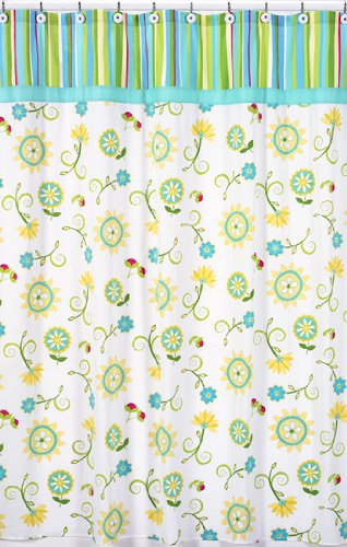Turquoise And Lime Layla Kids Bathroom Fabric Bath Shower Curtain By Sweet Jojo Designs