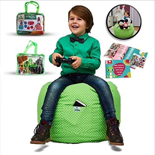 LARGE Stuffed Animal Storage Bean Bag Cover for Kids Room - Stuff'n sit Toys Organizer - Storage Chair - High Quality Cotton- Store Extra Blankets & Pillow too (Green)+FREE E-Book