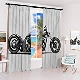 GUUVOR Manly Studio partition Living Room Curtain Custom Motorcycle Horsepower Adventurous Journey Freedom Ride Masculine Vehicle for Living Room or Bedroom W52 x L84 Inch Grey Black White