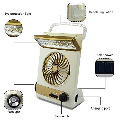 KASQA Solar Table Lamp Mini Fan 3 in 1 Multi-function Portable Eye-Care Desk Light Flashlight Solar Light For Adult Children Home Camping Solar Cooling Fans(Gold) by SUAYAN (Image #1)